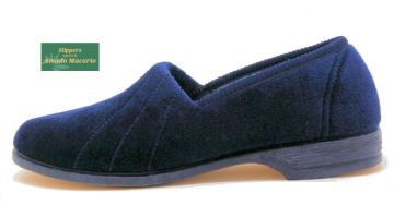 AUDREY' Ladies Velour Slippers with Rubber sole NAVY BLUE